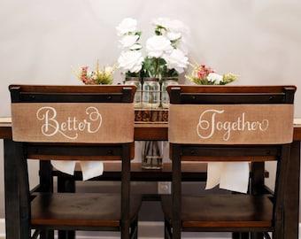Wedding Chair Banners, Better Together Burlap Wedding Sign, Mr and Mrs Wedding Decor, Rustic Wedding, Farmhouse Style Wedding, 538626485