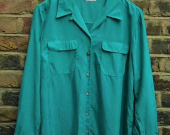 Vintage emerald green 1990 silky shirt blouse ladies size 14