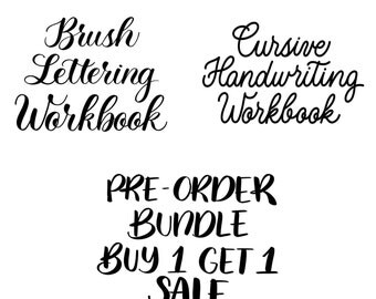 Do NOT  order with coupon code. Pre-Order Sale: Brush Lettering and Cursive Handwriting Workbooks PDF Printables