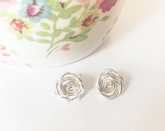 Sterling Silver Earrings | Rose Earrings | 925 Silver Studs | Rose Studs | Flower Earrings | Birthday Anniversary Gift | Bridesmaid Gift