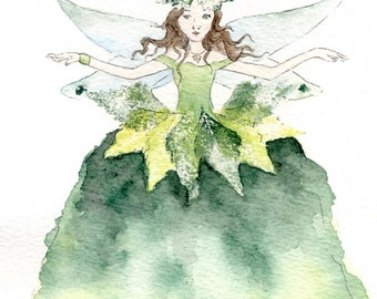 Queen of the Woodland Floor - original watercolour fairy painting, with leaf prints