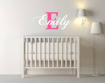 Custom Girls Name & Letter Nursery Wall Sticker