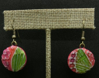 Stamped clay Pink/Green earring. Handmade design