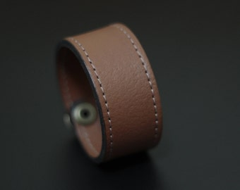 Artisan Handmade Accessory | Brown Tan Vegan Friendly Leather Snapper Cuff Bracelet
