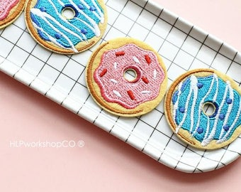 CREAMY DONUTS -- Handmade Embroidered Patch Brooches Pins/Fabric Badge/Iron-On Patches/Dessert/Sweet/Food