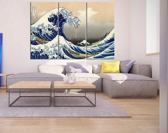 living room canvas art. japenese wall art 3 pieces for living room Extra large japanese  canvas print Large Etsy