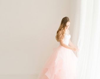 pink bridal organza skirt, ball grown prom skirt, formal party organza skirt