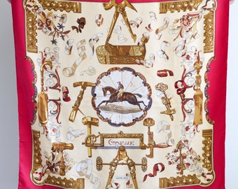 Hermes Paris silk carre scarf / copeaux horse print / authentic Hermes