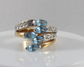Gold Tone Blue and White Cz Ring Size 6.25