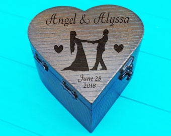Ring Box-Rustic wooden ring box-wedding ring box-wedding rings box-personalized ring bearer box-oak wood box- jewelry boxes-Ring box heart