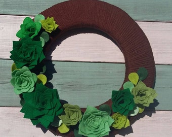 Succulent wreath, felt succulents, modern wreath, floral wreath, fabric wreath, felt succulent wreath, felt flowers, summer wreath