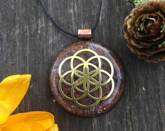 Seed Of Life Amethyst Mini Orgonite® Necklace