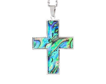 "Silver-Tone Mother of Pearl Abalone Shell Cross Inspirational Necklace Pendant in Stainless Steel, 18""-24"" Chain"