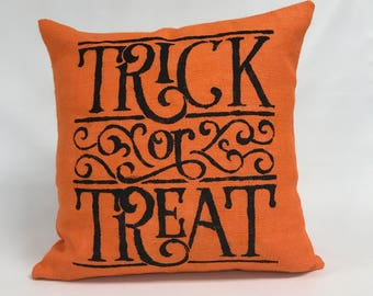 Halloween Pillow Cover - Burlap Pillow Cover- 20 x 20 Trick or Treat Pillow- Orange Pillow- Word pillow - Lined Pillow -Invisible Zipper