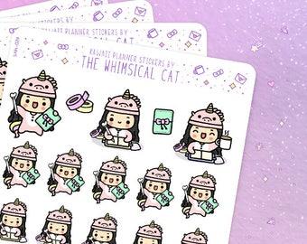 Planner Girl Stickers, Planner Girl Planner Stickers, Kawaii Planner Girl Stickers, Cute Planner Girl Stickers, Planner Girl