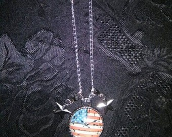 American Flag Time Clock Necklace