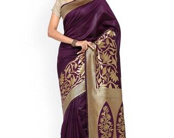 Purple Banarasi designer silk saree with Blouse Piece and  zari border work