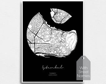 Istanbul City Map Print Travel Poster Circle Modern Printable