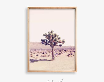 Joshua Tree Print,Desert Wall Art Printable Poster,Southwestern Decor,Joshua Tree Digital Download,Pink Wall Art,Boho Wall Decor,Large Print