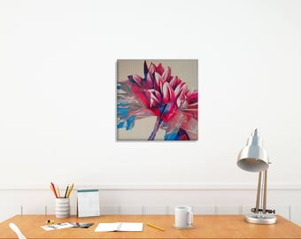 New Home Gift Painting, Original Painting Square, Flower Petals Art, Dahlia Flowers, Abstract Flowers, Dining Room Decor