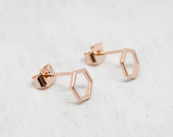 Small earrings rose gold Hexagon matt