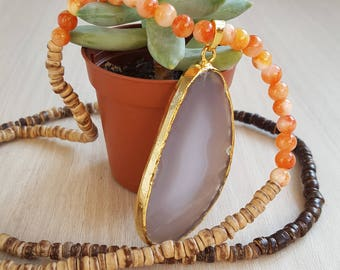 Agate long beads necklace