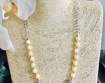 ON SALE Boho necklace / Gemstone necklace / modern necklace / multi color necklace / long beaded necklace / Yellow Necklace