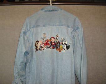 VINTAGE Looney Tunes Denim Shirt - Mens M ***FREE SHIPPING***