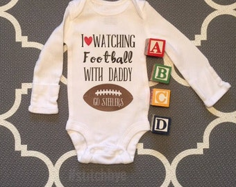 I Love Watching Football With My Daddy, NFL, Daddy Son Shirt, Daddy Baby Shirt, Dad Baby Shirt, Fathers Day Gift, Football Onesie, Son Dad
