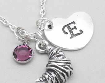 Croissant pendant necklace with heart initial | croissant jewellery | personalised baker gift
