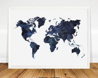 Blue map etsy blue world map printable watercolour world map print navy blue print art blue gumiabroncs Image collections