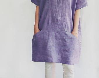 linen kimono tunic, loose fit tunic dress, oversized lilac dress, relaxed fit summer tunic, kimono sleeve dress