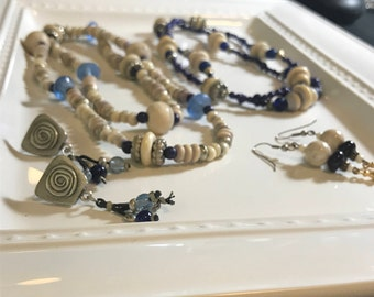 Blue and Beige Beaded Collection