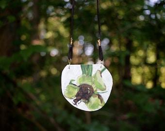 green tree blossom - original painting necklace