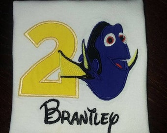 Personalized Embroidered Dory Birthday Shirt/Onesie Age Name Finding Nemo Character