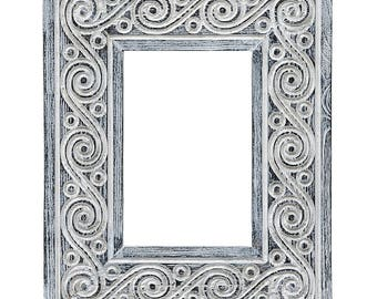 Photo frame ZIA thin wood frame, wood carvin frame, tree carving frame, vintage cheap frames, chip carving, frame with carvings
