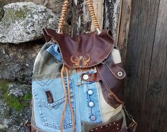 Denim Backpack - Denim Rucksack - Brown Leather Backpack - Leather Rucksack - Butterfly Backpack - Bohemian Backpack - Womens Travel Bag