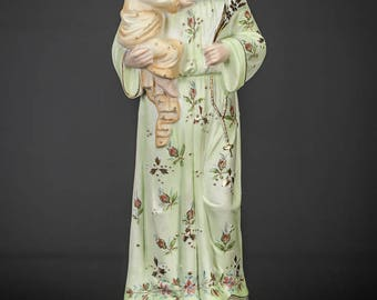 "St Anthony with Child Jesus Statue | Saint with Baby Christ Figure | Antique Bisque Porcelain Figurine | 13"" Large 