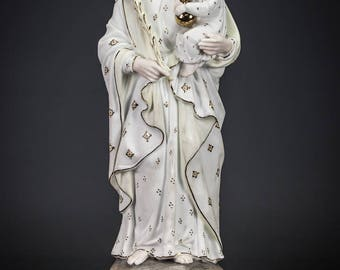 "15"" Saint Joseph w Child Jesus Antique Bisque Porcelain Statue Christ Figure 6"
