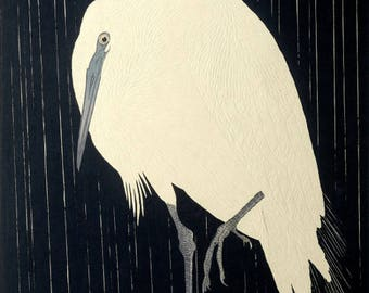 "Japanese Art Print ""Herons in Rain"" by Ohara Koson, woodblock print reproduction, fine art, asian art, cultural art, rain drops"