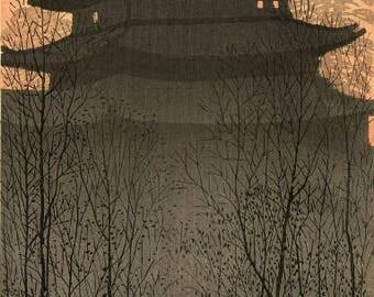 """Japanese Art Print """"Hirosaki Castle"""" by Konen Uehara, woodblock print reproduction, asian art, cultural art, Japan, dusk, sunset"""