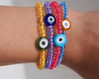 evil eye seed bead bracelet