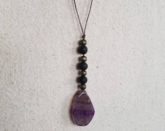 Agate and Lava Stone Essential Oil Diffusing Necklace