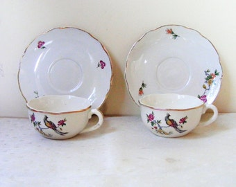 Tea for two, Vintage french, Cups and saucers, DiGOIN Porcelain, Tea cups and saucers, Tea cups porcelain, Tea party cups, French pottery
