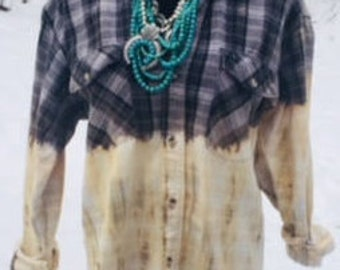 Bleached Oversized Flannel Plaid Shirt Mens Size M Grunge/Rockabilly/Distressed