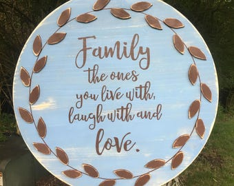 Family Sign, Wood Sign, Distressed, Family, Live, Love, Laugh, 3D,