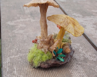 paper atmosphere of forest mushrooms