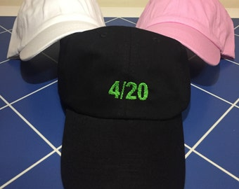 4/20 Embroidered Unstructured 100% Cotton Polo Adjustable Baseball Dad Hat