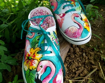 Tropical Hand Painted Sneakers, Flamingo Sneakers, Handpainted Aloha Shoes, Tropcal Shoes, Tropical Footwear, Tropical Flamingo Shoes