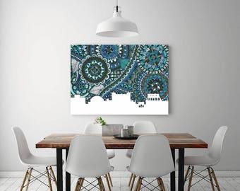 Rome, Italy, Skyline, Poster, Print, Digital Illustration, Zentangle, Doodle, Home Decore, Blue, City, Europe, Green, Art, Draw, Coliseum